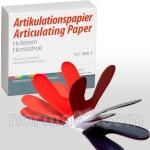 Артикуляционная бумага Бехт / Articulationspaper Becht - ПОДКОВА красно-синяя (80мк) листов 144шт, Alfred Becht (Германия)