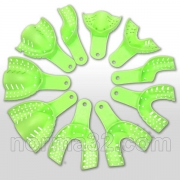 Оттискные ложки пластмассовые автоклавируемые 10 шт (зелёные)